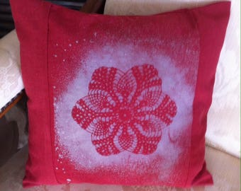 Lace Print linen Cushion cover