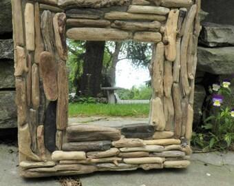 Driftwood,Driftwood mirror,wall mirror,art decor mirror,driftwood art,driftwood beach decor,square mirror,rustic mirror,beach decor,mirrors