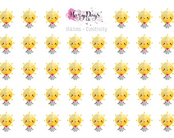 Kawaii Utilities Electricity - Cute Light Bulb Planner Stickers for ECLP, Happy Planner, TN, Personal Planner etc