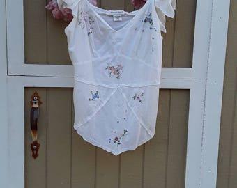 Upcycled tunic, gypsi top, mori girl, vintage fabrics,
