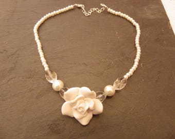 Necklace with Crystal pearl beads and a rose in fimo for bride