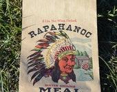 MOMS DAY SALE Vintage 5lb Corn Meal Paper Bag, Ephemera, Germania Mills Fredericksburg Virginia