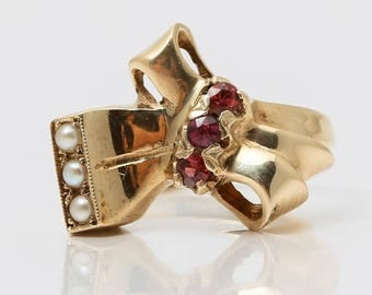 June and October Birthstones - Cream Pearl and Pink Tourmaline Antique Ring set in 14K Yellow Gold Size 5.25