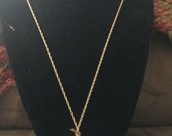 Vintage AVON Goldtone Chain Design Necklace with Apple Pendant, Length 27.5''