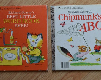 Two Richard Scarry's Little Golden Books: Best Little Word Book Ever! and Chipmunk's ABC