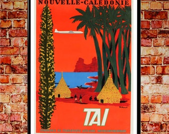 New Caledonia Poster Vintage Airline Poster Orange Wall Art Vintage Travel  Poster Nouvelle Caledonie French Art
