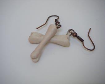 White bone earrings