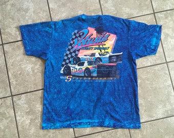 Valusia County Speedway Daytona Beach Florida Tie Dye T Shirt Blue 1993 XL