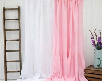 SAMPLE CLEARANCE Linen Curtain Panel, Linen Curtains, Linen Drape with Hemstitch Detail - 100% Linen. Wide. Shabby Chic!