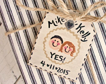 Cute Engagement Ornament, Personalized Engagement Gift Tag, Christmas Ornament, She Said Yes, Rustic Engagement Party Decor, Rustic Wedding