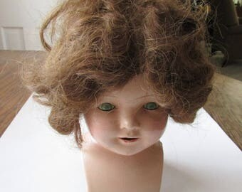 Vintage Composition  Doll Head Compo Eerie Creepy Spooky Large & Cute!