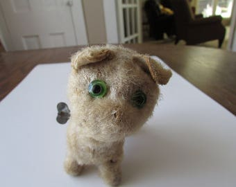 Vintage Shabby Windup Dog Puppy Toy Well Worn