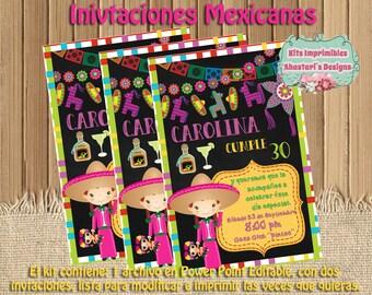 Mexican editable printable birthday invitations Charra
