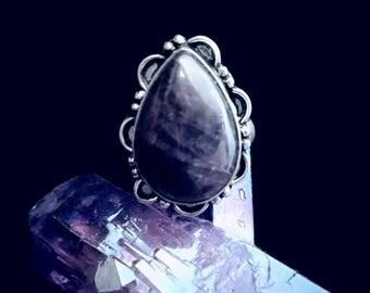 Dark Purple Amethyst Teardrop  Sterling Silver Overlay Ring Size 8