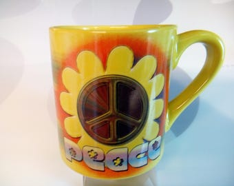Vintage Coffee Mug With Flower Child Peace Symbol by Kate Ward Thacker and Silver Buffalo, LLC