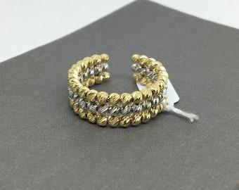 14K Two-Tone Gold Diamond Cut Beads Ring