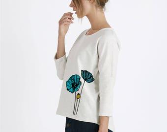 Sweat-shirt Femme manches 3/4 zippé dans le dos - blanc chiné - impression Coquelicots