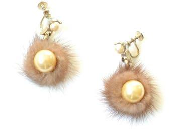 Vintage Fur and Pearl Earrings, Mink, Mid-century Screw Back