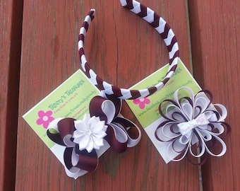 Back to School Hair Accessory Set, Stacked Hair Bow, Stacked Bow, Pinwheel Bow, Pinwheel Hair Bow, Boutique Bow, Korker Bow, Loopy Hairbow