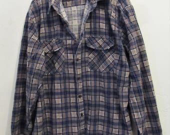 A Men's,Vintage 80's,Thin,Blue & Brown Plaid FLANNEL Shirt By BUCKINGHAM.XL(44R)