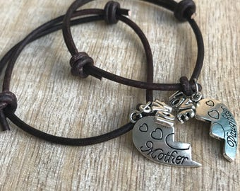 Mother and Daughter Bracelets, Mom and daughter bracelets, Antique Brown Leather Matching Bracelets, Gift for Mom LM001225