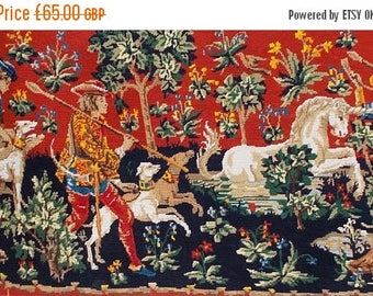 SALE 10% OFF Fabulous Large Vintage French Needlepoint Renaissance, Medieval Tapestry 'Chasse á la Licorne' Hunting for the Unicorn  (6411s)