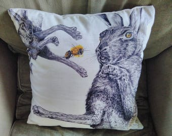 Hares and Bee cushion