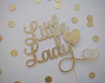 Baby Shower Cake Topper, Little Lady Cake Topper, Baby Girl Cake Topper, Glitter Baby Shower Cake Topper, Glitter Cake Topper