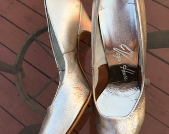 Vintage 60's Silver Leather High Heels
