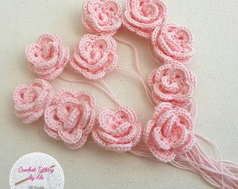 Crochet flowers rose, set of 10 applications rose by 3.5 cm.