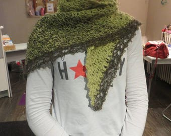 Crochet shawl, mohair and alpaca, green anise and shiny yarn