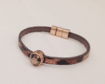 leopard leather bracelet
