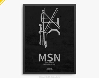 MSN Airport, Dane County Regional Airport, Madison Wisconsin, MSN Airport Poster, Dane County Airport, Madison WI, Madison Airport Poster