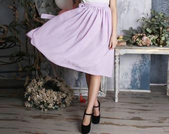 Mauve skirt, lilac, chiffon skirt, tea length skirt, bridesmaid skirt, midi skirt, summer,bridal skirt, knee length skirt, wedding skirt