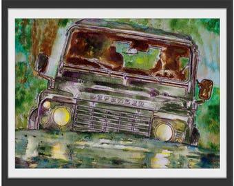 Landrover Defender, Landrover Art, Landrover Prints, Landrover Paintings, Car Art, Car Prints, Car Paintings, Landrover Wall Art, Landrover