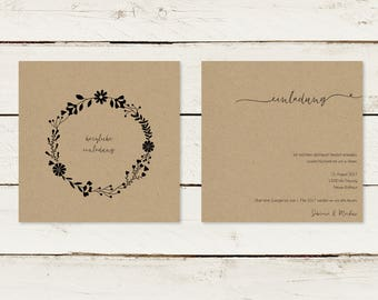 Wedding invitation | Kraft paper | Flower wreath