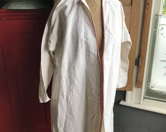 Antique French cream cotton linen metis housecoat dressing gown initials AC size M L