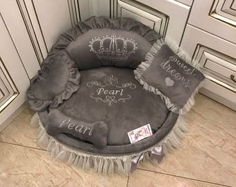grey princess bed with crown sparkles designer pet pet cat bed medium or small dog bed