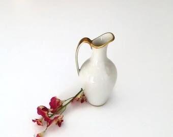 CIJ Sale Tiny Porcelain Bud Vase, Bavaria Vase, Jaeger and Co Vase, Bud Vase, Fine Ivory China, White and Gold Decor, Vintage Bud Vase, 1940
