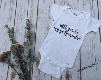 "Godparent Baby One Piece-""Will You Be My Godparents""-Cute Baby Clothes-Godparent Baby Clothes-Baby Onesie®-Godparent Onesie-Godparents Shirt"