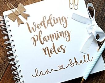 Wedding notebook, wedding planner book, wedding notes, bride planner, white notebook, hen party planner, batchlorette notebook, organiser