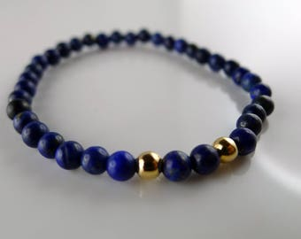 Bracelet with beads 4 mm blue lapis lazuli and gold plated
