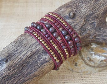 Beaded Leather Wrap Bracelet: Burgundy & Gold/5 Wrap Bracelet/Layering Bracelet/Statement Bracelet/Gift for Her/Leo Woman/3rd Anniversary