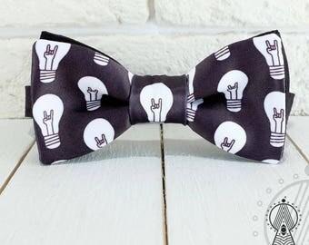 Rock Bow Tie, Black bowtie, Rocker's bowtie, Musical pattern, Bulbs, Men's bow tie, Women's bow tie, Children's bow tie