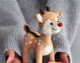 Needle felted deer, Needle felted animal- Wool Animal Sculpture - Needle Felted Fawn - Handmade Felted sculpture fawn-Doll house Wool felted