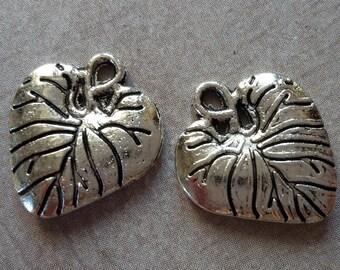 Leaf charms, leaves, leaf heart, silver, 17 x 15 mm