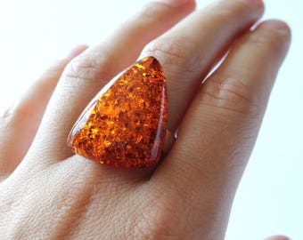 Massive amber ring, large amber ring, amber jewelry, natural Baltic amber, cognac ring, sterling silver, amber and silver, gemstone ring