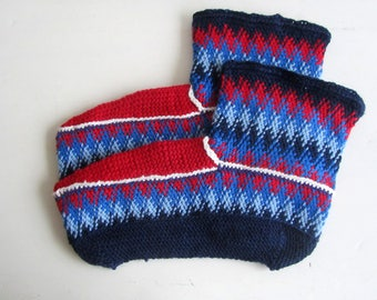 """Finnish Knitted Slippers """"Northern Lights"""" Pattern from 70s"""
