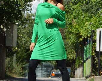 Loose Long Off Shoulder Dress, Extravagant Turtleneck Tunic, Green Asymmetric Maxi Top, Casual Women's Clothing by SSDfashion