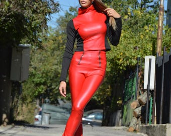 Red Leather High Waist Pants, Tight Fit Casual Pants, Elastic Long Pants, Zipper Leather Leggings by SSDfashion
